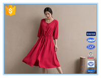 Medium Length Sleeves Red Korean Fashion Dresses 2015