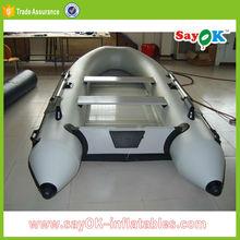 Finshing inflatable rowing boat with outboard motor rigid hull