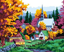 The maple leaves town Digital Oil Painting