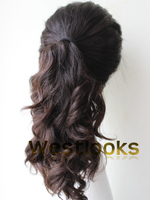 100% Pure Mongolian Hair Dark Brown Jewish Full Ponytail Wigs