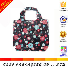 wholesale cheap foldable full flowers printing portable non-woven shopping bag for retail