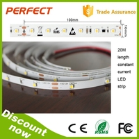 NEW design !3528 constant current led strip No voltage drop 20m length, 24v DC,1200 leds with CE and ROHS