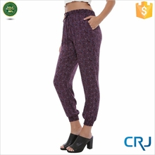 Womens digital printing pants elastic bottom trousers