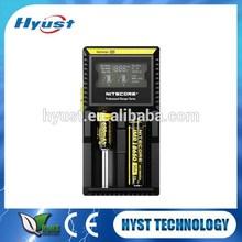 2015 nuevo producto Nitecore D2 ranuras cargador de batería Digital con Monitor LCD adecuado para 26650 18650 batería