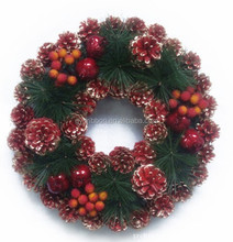 18 Inch Hot Sale Wreath Decorating Supplies,Pinecone Christmas Wreath with fruits