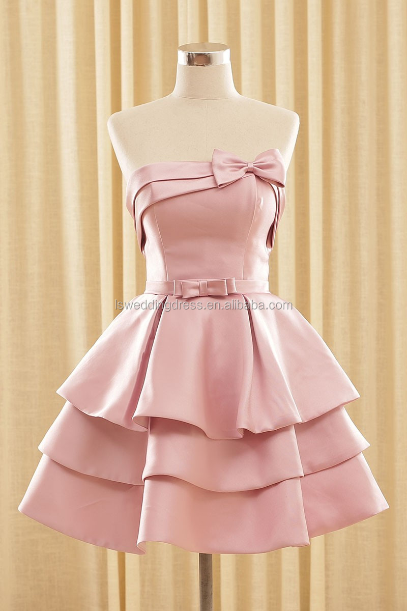 RSM66144 Real desnuda satin bow homecoming vestido de última moda ...