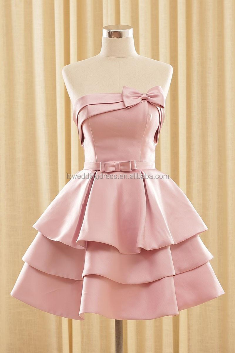 RSM66144 Real desnuda satin bow homecoming vestido de última moda ...