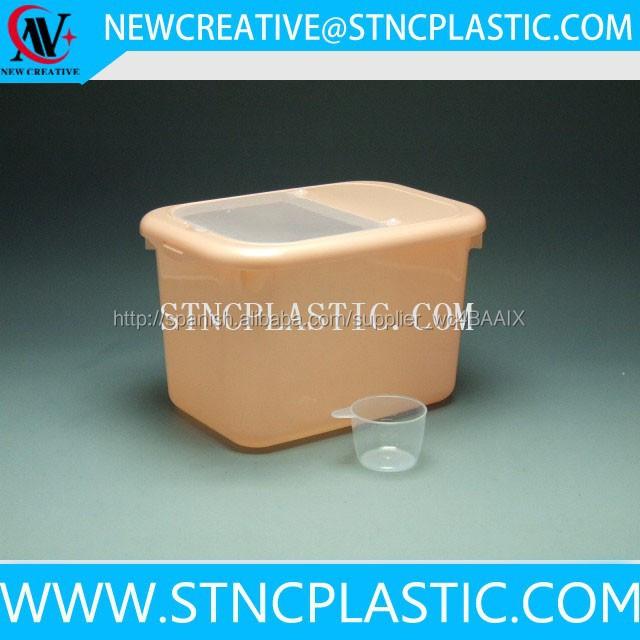 De plástico de almacenamiento de arroz contenedor con taza de medir 10 kg