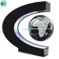 High end gift C shape base 3 inch floating globe gift wrap box for watch