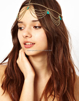 China wholesale 2014 fashion triple gold plated metal chains hair pin HP002