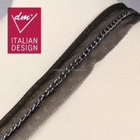 Sexy black iron chain tulle lace trim for clothing