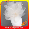 white church hat body white sinamay mini hat with feather