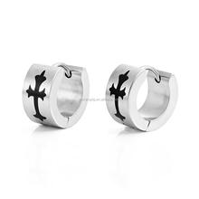 Cross Huggie Hoop Men's Earrings 7mm Silver Stainless Steel Cross Earrings