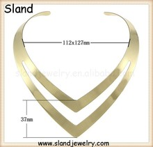 Alibaba best selling products Heavy Chunky gold collar choker necklace plain/big metal necklace 37*112*127mm