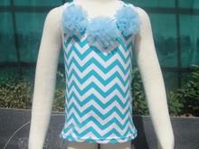 2015 new design fancy baby clothes blue chevron top baby underwear