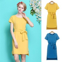 Latest Fashion Women Short Sleeve Asymmetric Hem Designs Ladies Office Dress with Belt SV023987