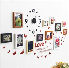 Clock hooks picture frame wooden walls for home decoration