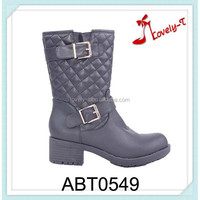 Competitive price woman double buckle low heel half boots with zipper