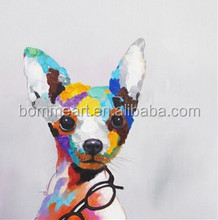 Hand-painted oil paintings popular animal bedroom hangs a picture of glasses puppy household wall decoration painting canvas art