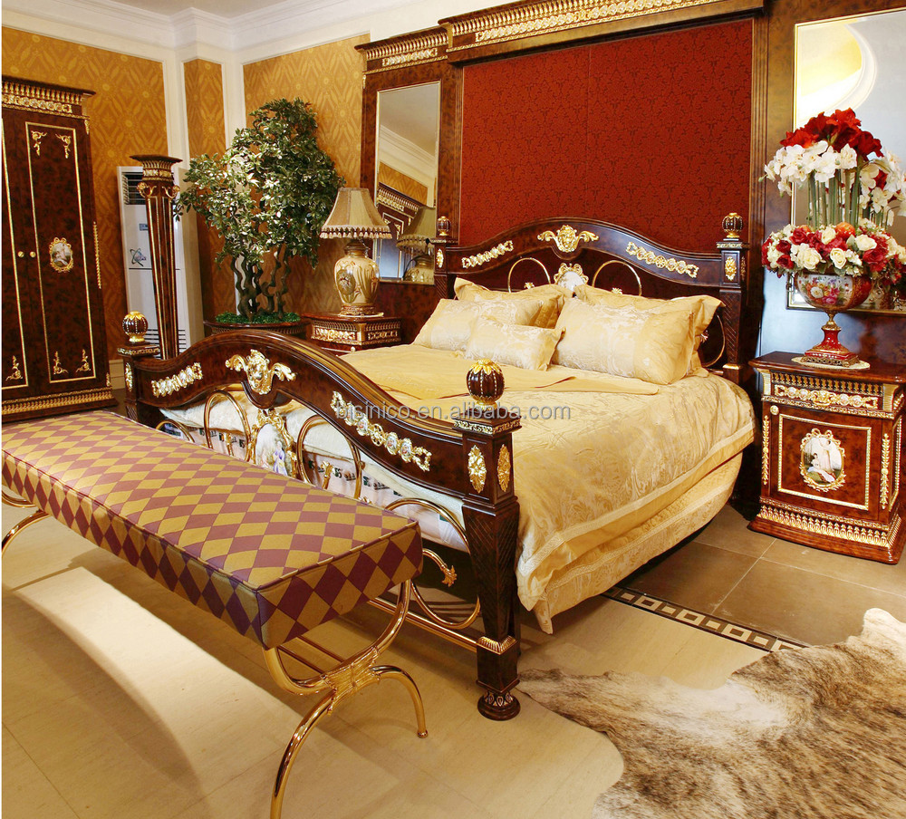 Franse barok koninklijke hand gesneden massief houten kingsize bed ...