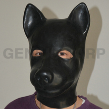 3D moulded animal rubber latex hoods full head unisex dog mask for party