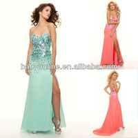 Hottest Sell Sweetheat Sequins bodice Split Side A-line Sexy Prom dress PD1338