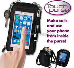 High quality touch phone bag / touch purse /wrist strap wallet