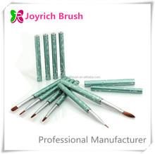 Green Diamond Metal Handle Nail Art Brush Set Custom Paint Artist Brushes Set