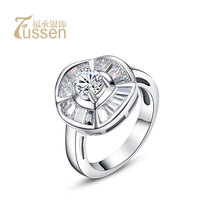 Hearts and arrows cubic zircon S925 pure silver ring female gift wedding ring