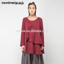 Moq bajo europea largo o manga- cuello 100 de algodón de las señoras top blusa de marcas