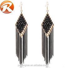 New design Bohemia tassels eardrop, fashion trend crystal inset dangler earrings