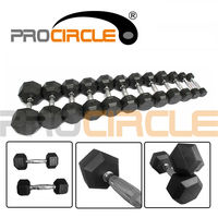 Crossfit High Quality Rubber Coated Hex Dumbbells
