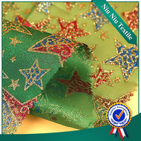 Textile fabric supplier New style Custom Woven star printed organza fabric