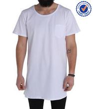 Plain short sleeve long tee for men