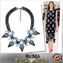Plated Gun Black With Alloy Spike Crystal Stone Necklace
