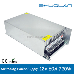 Hot Selling Indoor Switch Mode Led power Supply AC 220V to DC 12V 60A 720W