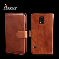 Manufactury genuine leather for samsung s5 wallet case