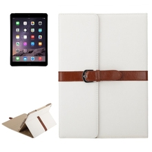 2015 New Products 3 Folding Flip Leather Case for iPad Air 2 Flip Cover with Holder and Buckle