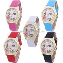 New Fashion Women's Imitation Leather Band Rose Print Simple Quartz Wrist Watch