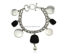 Cheap and fashion Look Silver circle and Black Charm Chain Bracelet 2015