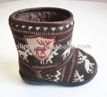 2015 ELK/Reindeer kids fleece lining cable knit baby winter snow boots baby shoes