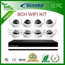 2015 Bessky factory cctv system IP camera, 8CH WIFI P2P NVR Kit,high definition ir ahd camera