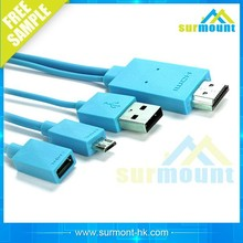 High Quality rainbow colour 2M micro usb mhl to hdmi cable adapter manufacturers