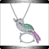 Fashion colorful CZ Stone Parrot Pendant with 925 Silver Necklace Charms
