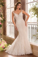 Gorgeous Elegant Sheath Wedding Dresses Special Occasion White Lace V-Neck Backless Bride Gowns 2015 New Arrival HA-080