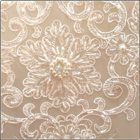 Latest top quality china facotry made embroidery beaded lace for wedding decoration
