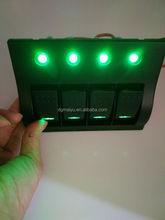 4 Gang Car Marine waterproof DC Rocker Switch Panel 12v/24v With Blue LED Indicator Circuit Breaker Overload