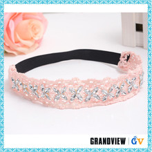 Elegant design elastic back pink lace flower baby headband