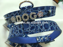 2.5cm Width PU Leather Crocodile Blue DIY Dog Pet Harnesses and Leashes with Rhinestone Slide Letters Charms