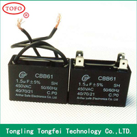 Class B plastic film ac motor capacitor CBB61